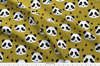 Ralph Lauren Pandas Fabric - Hello Panda - Golden Olive By Andrea by andrea_lauren - Pandas Fabric with Spoonflower - Printed on Minky Fabric by the