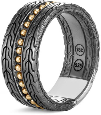 John Hardy 'Chain Jawan' 18k yellow gold rhodium silver ring