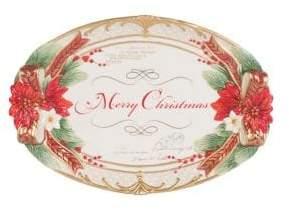 Fitz & Floyd Cardinal Christmas Ceramic Appetiser Tray