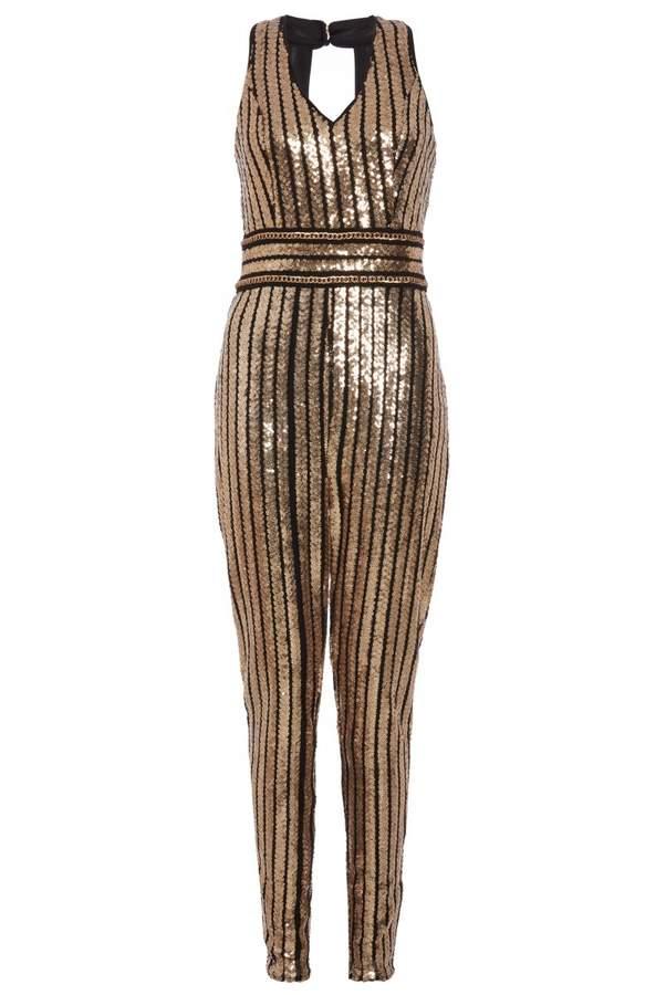 TOWIE Black and Gold Sequin Stripe Jumpsuit
