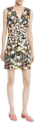 Peter Pilotto V-Neck Sleeveless Floral-Print Cady Mini Dress