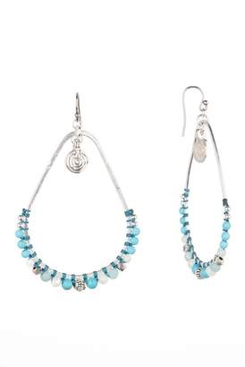 Chan Luu Turquoise Beaded Frontal Hoop Dangle Earrings