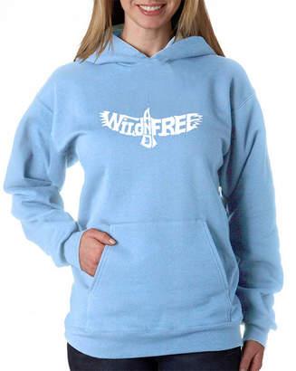 LOS ANGELES POP ART Los Angeles Pop Art Women's Word Art Hooded Sweatshirt -Wild and Free Eagle
