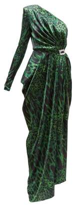 Alexandre Vauthier One Shoulder Lynx Print Silk Blend Gown - Womens - Green Print