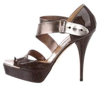 Oscar de la Renta Patent Leather Platform Sandals