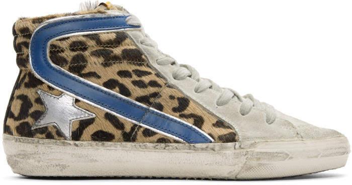 Golden Goose Deluxe Brand Multicolor Leopard Slide High-Top Sneakers