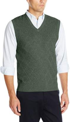 Haggar Men's Heather Diamond Texture Stitch V-Neck Vest