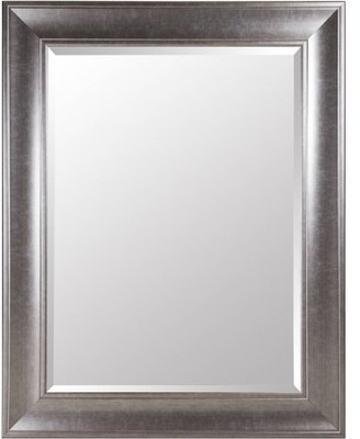 Gallery Solutions Large 39X49 Beveled Wall Mirror with Brushed Nickel Frame