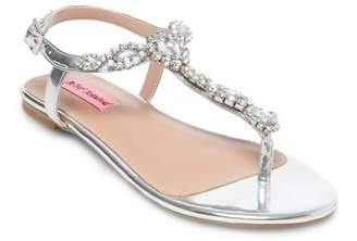Betsey Johnson Crystal Embellished Flat Sandal