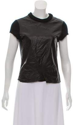 Jonathan Simkhai Leather-Trimmed Wool Top
