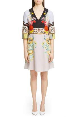 Etro Placed Rose Print Floral Jacquard Dress