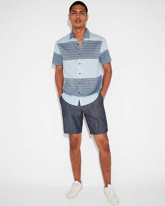 Express Classic Textured Stripe Short Sleeve Shirt