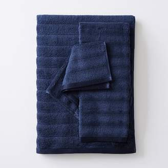 Pottery Barn Teen Bamboo Carved Rib Towel, Navy, Hand