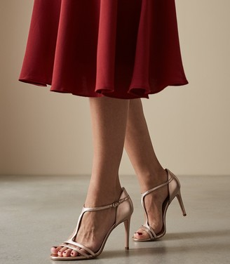 Reiss Constance - T-bar Heeled Sandals in Rose Gold