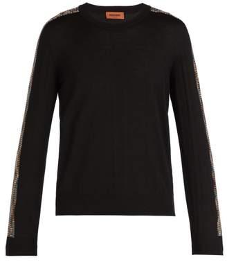 Missoni - Striped Sleeve Crew Neck Wool Sweater - Mens - Black