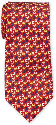 Battistoni Red Butterfly Silk Tie