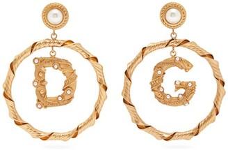 Dolce & Gabbana Faux Pearl Hoop Drop Earrings - Womens - Gold