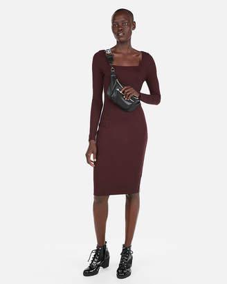 Express Petite Ribbed Square Neck Sheath Dress