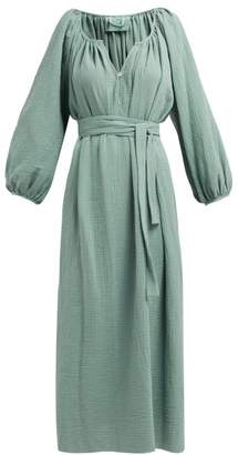 Loup Charmant Textured Organic Cotton Gauze Midi Dress - Womens - Green