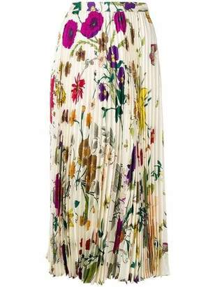 Gucci Floral Gothic Silk Pleated Skirt