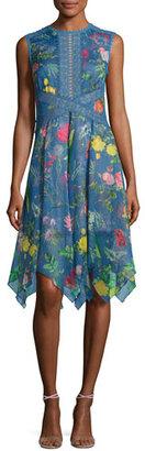 Tadashi Shoji Sleeveless Floral Chiffon Handkerchief Dress, Blue $395 thestylecure.com