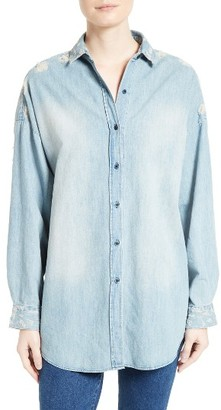 Women's Iro Prune Distressed Chambray Shirt $230 thestylecure.com
