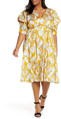 ELOQUII Puff Sleeve Fit & Flare Dress