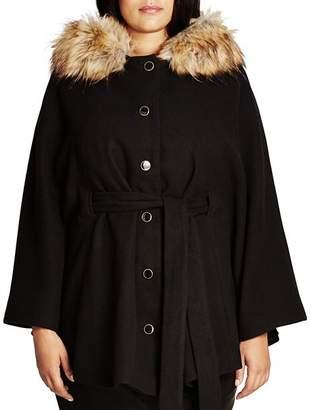 City Chic Plus Faux Fur Capelet Coat