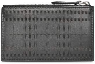 Burberry Perforated Check Leather Zip Card Case