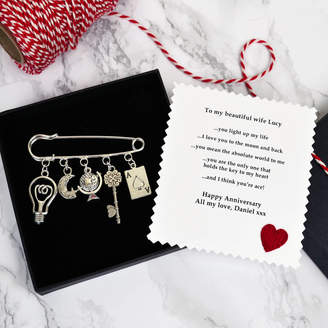 Jenny Arnott Cards & Gifts Personalised Charm Brooch Anniversary Gift