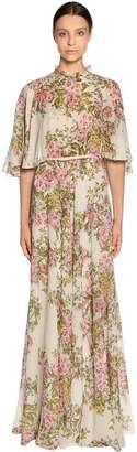 Giambattista Valli Floral Print Georgette Long Cape Dress