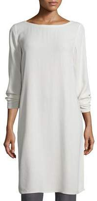 Eileen Fisher Silk Georgette Crepe Tunic, Bone $220 thestylecure.com