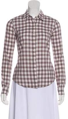 James Perse Plaid Long Sleeve Top