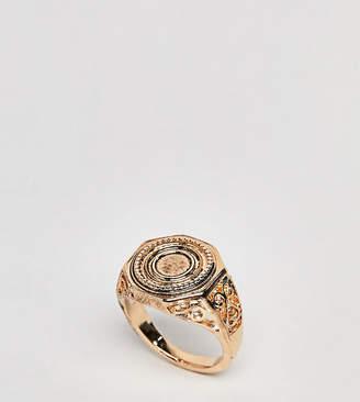 Asos DESIGN Curve Engraved Coin Sovereign Ring