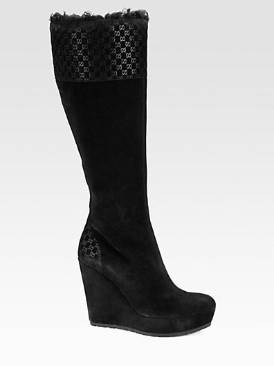 Gucci Courteney Suede and Lamb Fur Wedge Boots