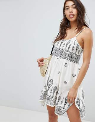 Asos Design DESIGN Bandana Print Placement Hanky Hem Beach Dress