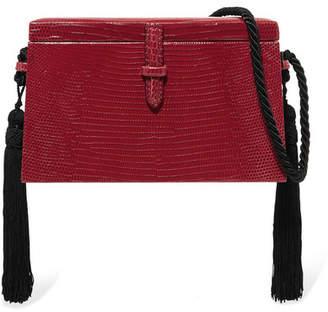 Hunting Season - Square Trunk Tasseled Lizard Shoulder Bag - Red