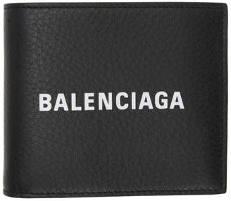 Balenciaga Black Everyday Logo Square Wallet