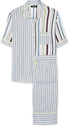 DKNY Striped Crepe De Chine Pajama Set - Blue