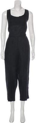 Black Crane Linen Sleeveless Jumpsuit