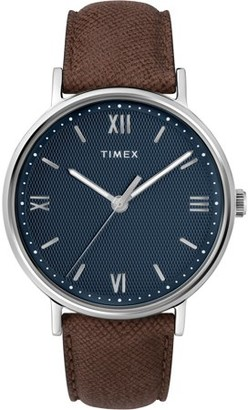 Timex Men's Southview 41 Brown/Blue Watch, Leather Strap