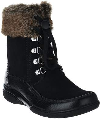 Clarks Leather Water Resistant Ankle Boots w/ Faux Fur - Kearns Ramsey