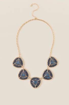 francesca's Baylee Beaded Triangle Necklace - Navy