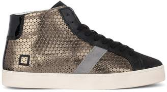 D.A.T.E Hill High Pong Black And Golden Leather Sneakers