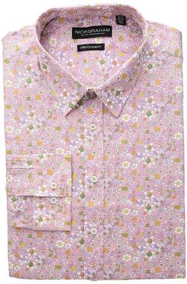 Nick Graham Floral Print Stretch Dress Shirt Men's Long Sleeve Button Up