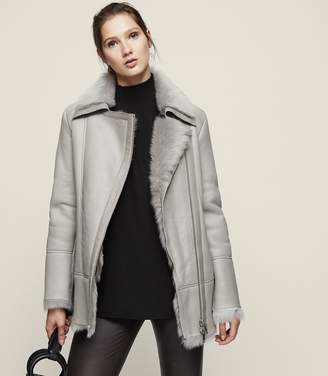 Reiss Nicole Long-Haired Shearling Coat