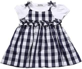 Il Gufo Jersey Bodysuit & Gingham Poplin Dress