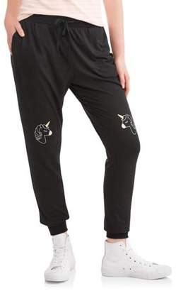 Lemondrop Juniors' Unicorn Knee Graphic Fleece Jogger Sweatpants