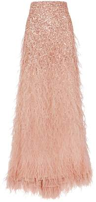 Alice + Olivia Ashton Sequinned Feather Skirt