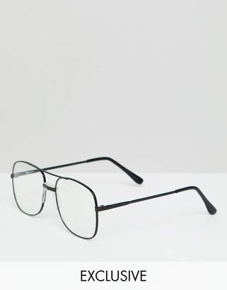 Reclaimed Vintage Inspired Aviator Clear Lens Glasses In Black